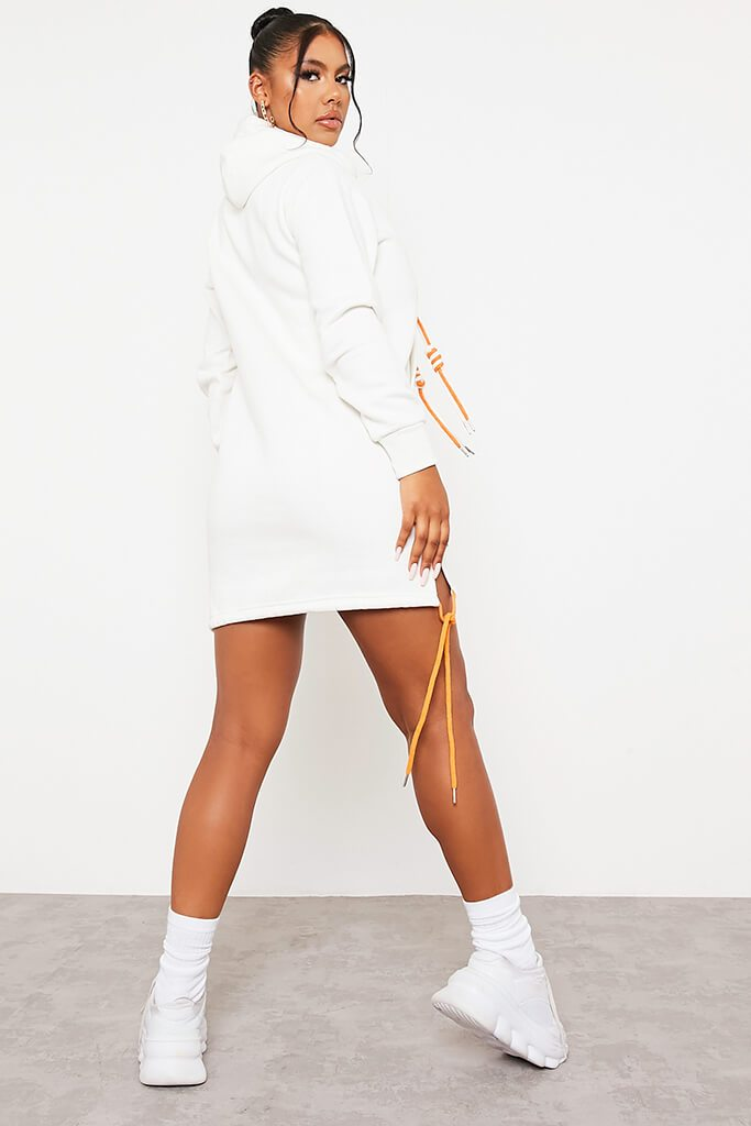 Off White Rope Detail Hooded Dress view 4
