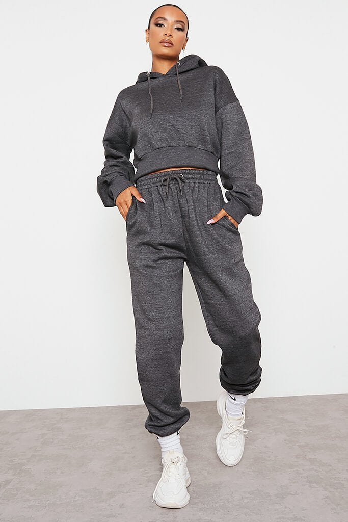 Charcoal Fitted Waist Crop Hoodie And Jogger Set