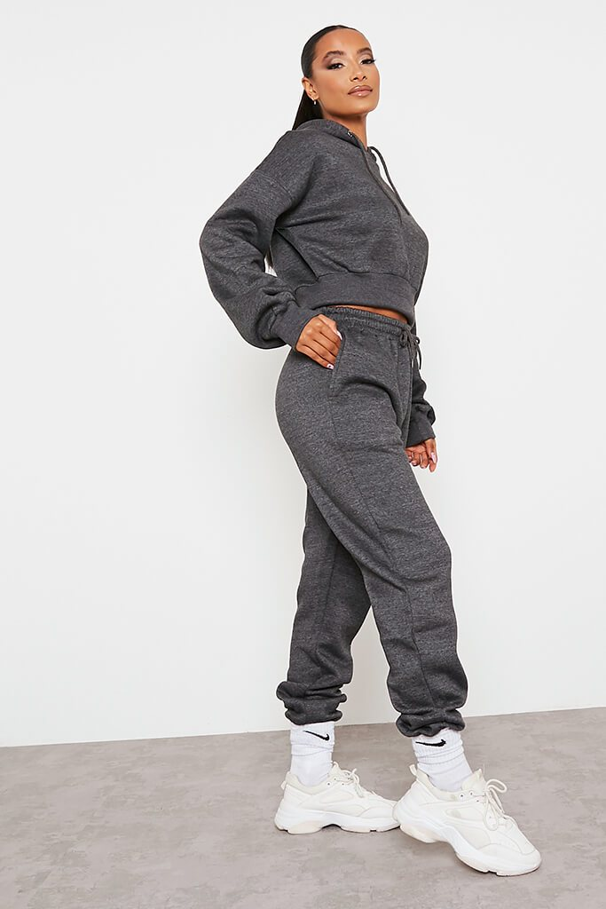 Charcoal Fitted Waist Crop Hoodie And Jogger Set view 3