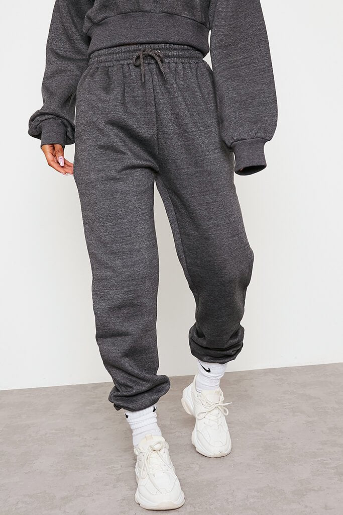 Charcoal Fitted Waist Crop Hoodie And Jogger Set view 2