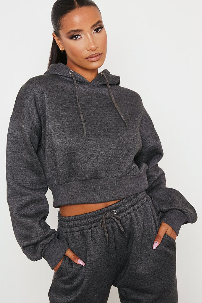 Charcoal Fitted Waist Crop Hoodie And Jogger Set view 5