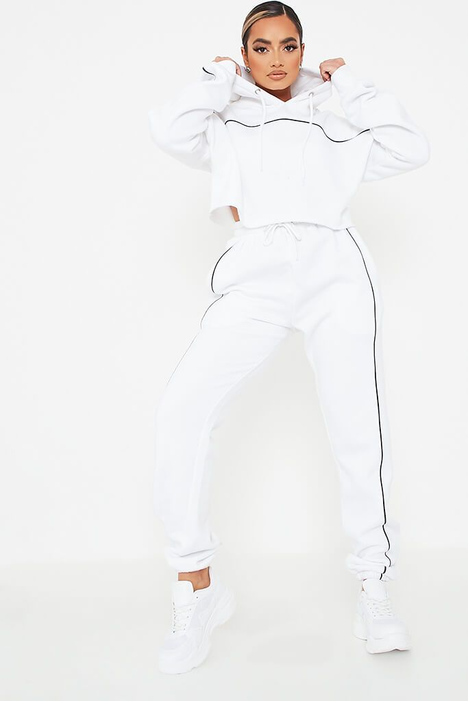 White Contrast Seam Crop Hoodie And Jogger Set