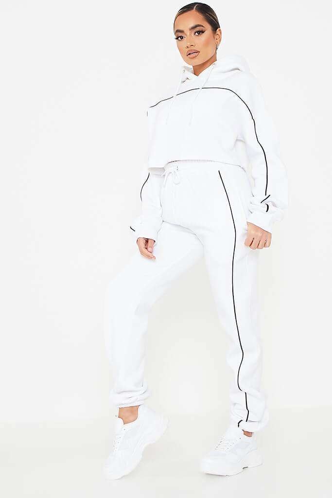 White Contrast Seam Crop Hoodie And Jogger Set view 2