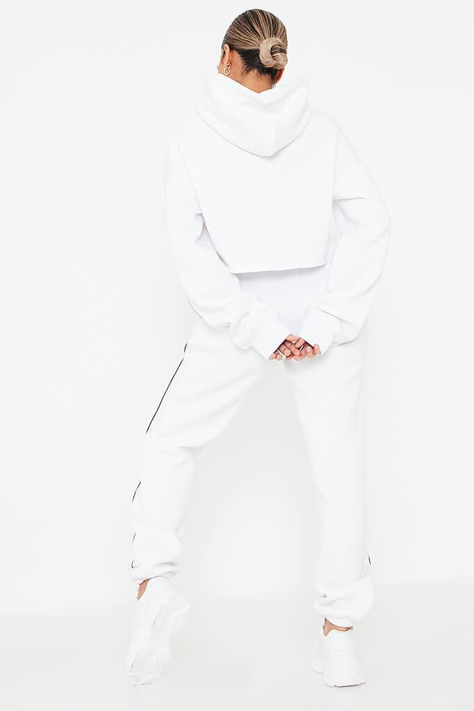 White Contrast Seam Crop Hoodie And Jogger Set view 3