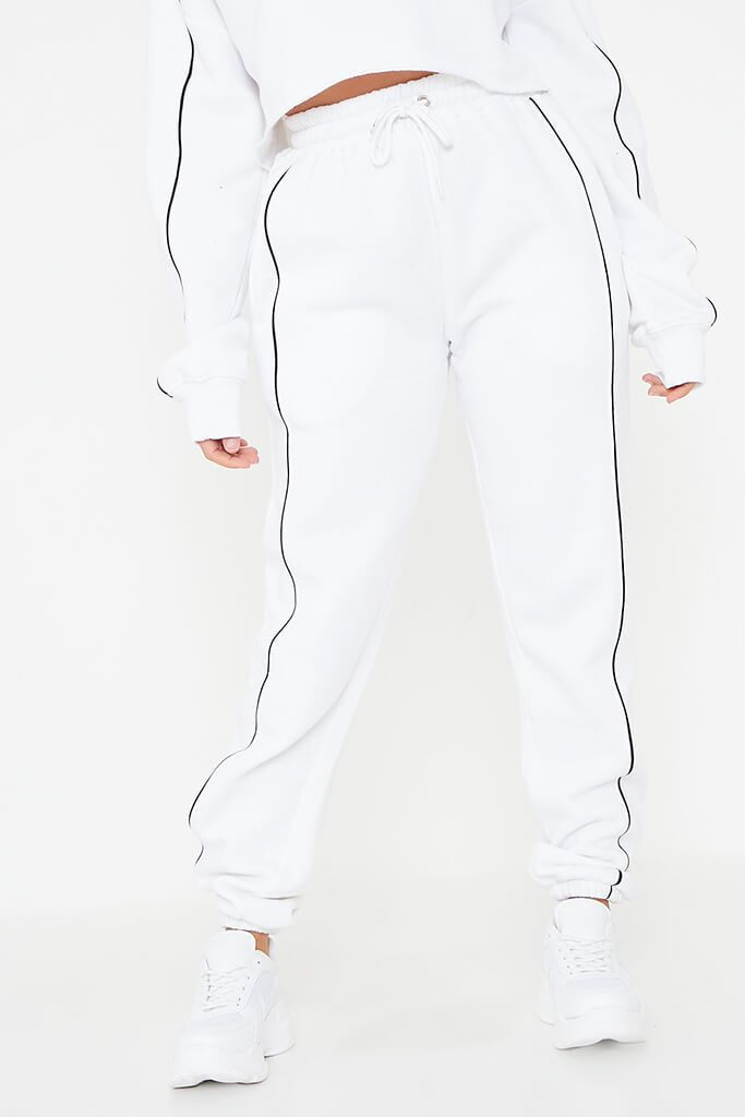 White Contrast Seam Crop Hoodie And Jogger Set view 4