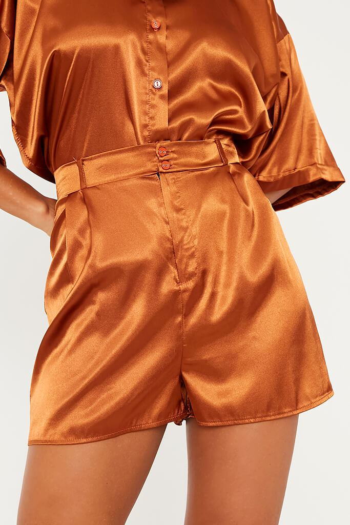 Rust Satin High Waist Shorts view 5