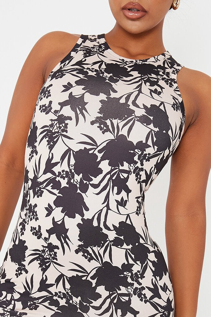 Stone Jersey Floral Print Racer Neck Bodycon Dress view 5