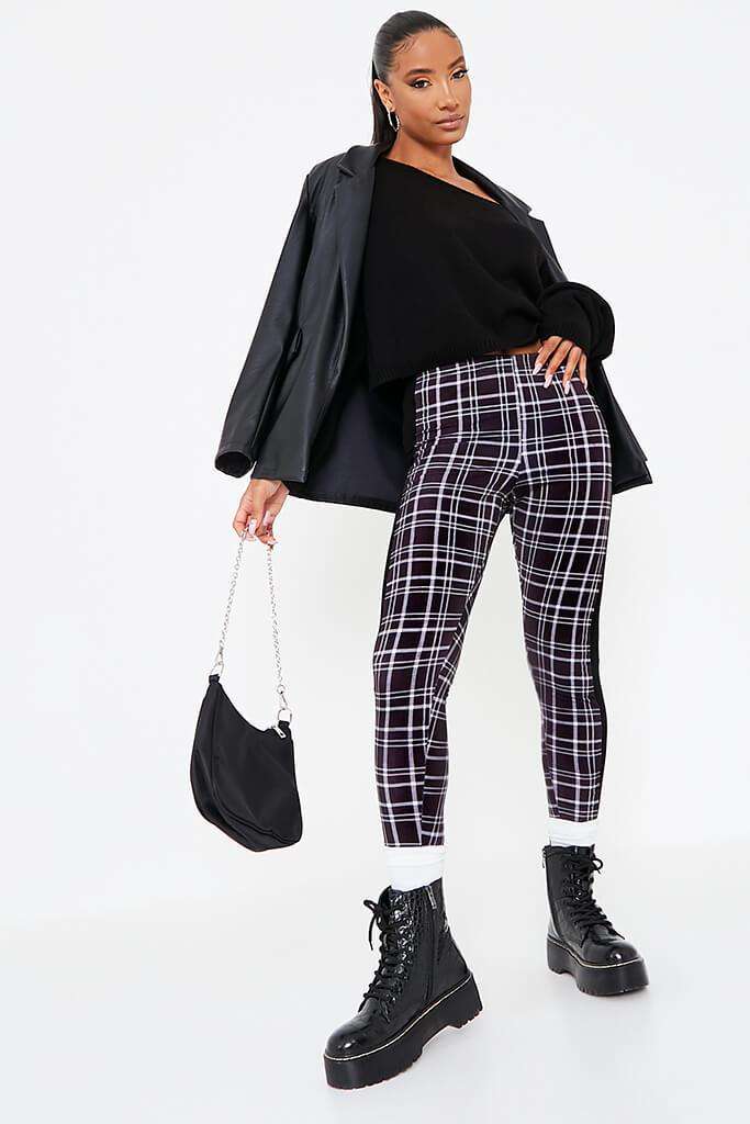 Black Side Stripe Check Print Leggings