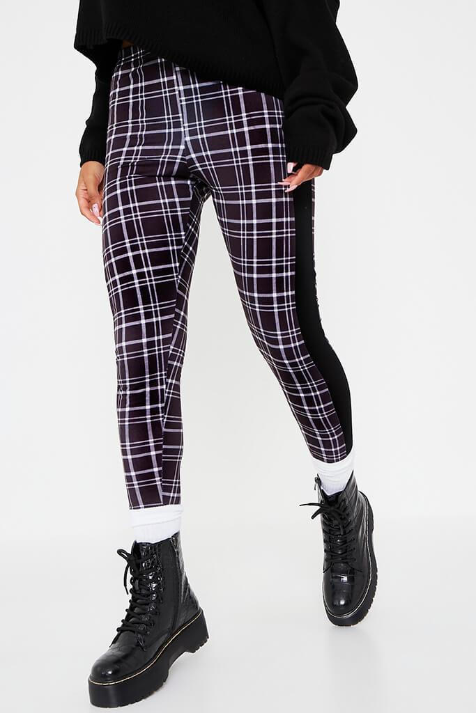 Black Side Stripe Check Print Leggings view 2