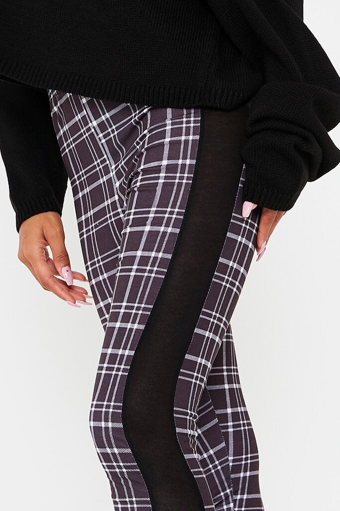 Black Side Stripe Check Print Leggings view 5