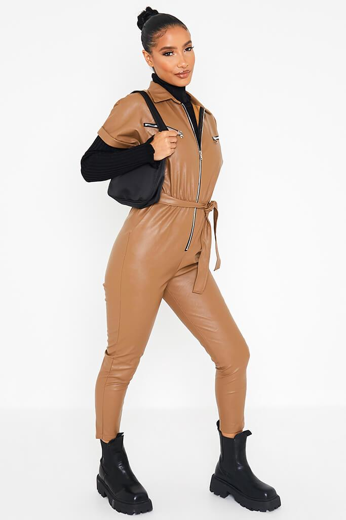 Camel Faux Leather Short Sleeve Belted Utility Jumpsuit view 2