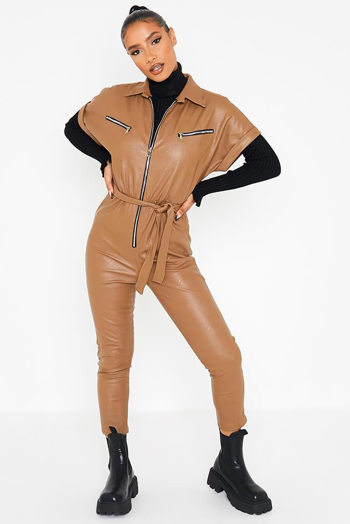 Camel Faux Leather Short Sleeve Belted Utility Jumpsuit