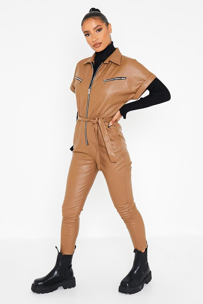 Camel Faux Leather Short Sleeve Belted Utility Jumpsuit view 3
