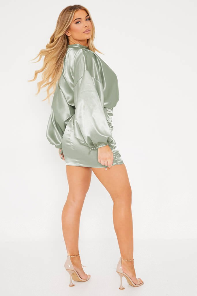 Green Satin High Neck Balloon Sleeve Ruched Front Dress
