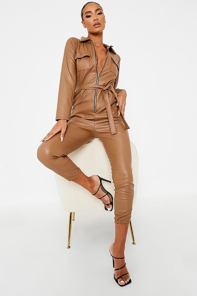 Brown Faux Leather Belted Utility Jumpsuit
