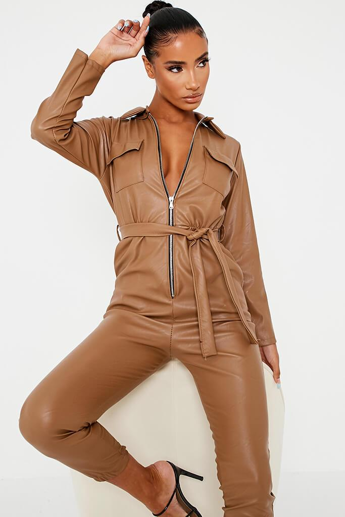 Brown Faux Leather Belted Utility Jumpsuit view 2
