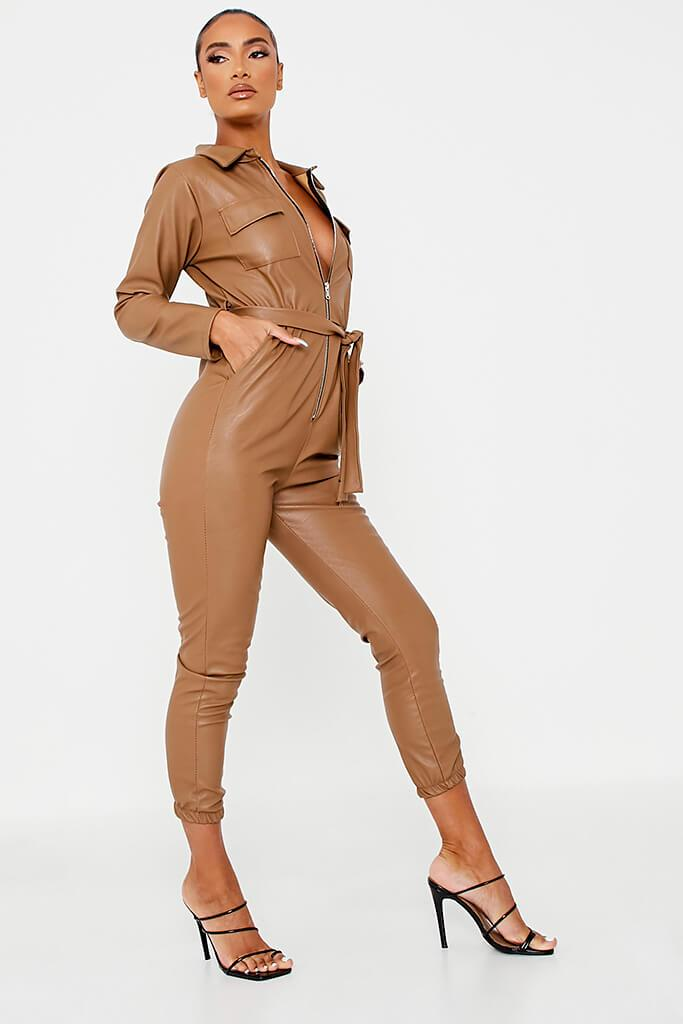 Brown Faux Leather Belted Utility Jumpsuit view 3