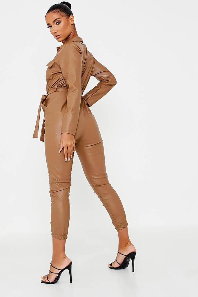 Brown Faux Leather Belted Utility Jumpsuit view 4