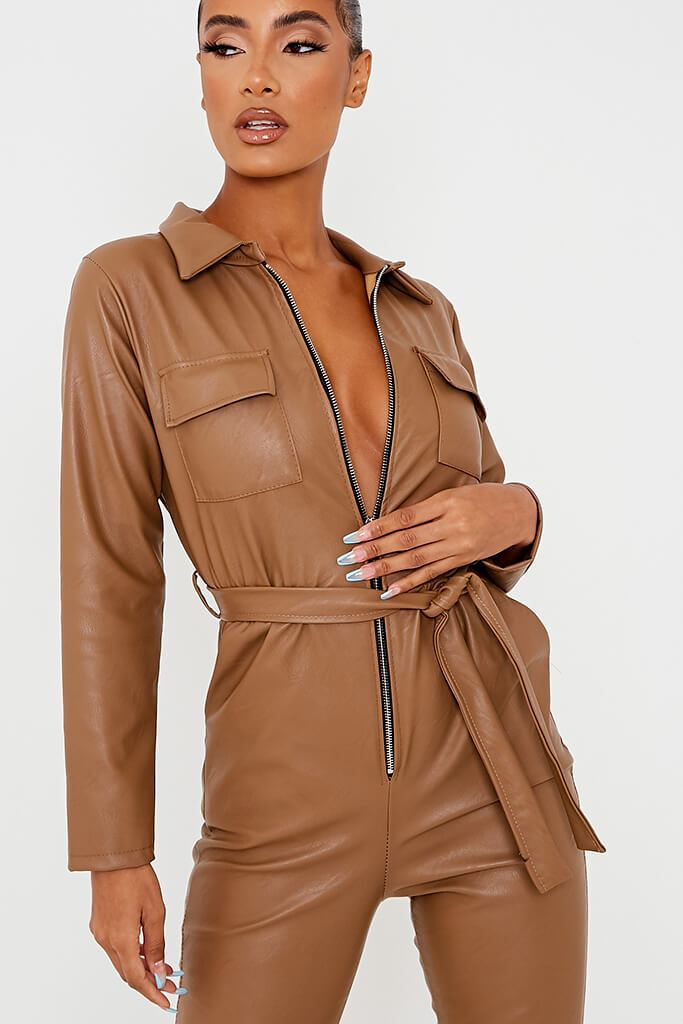 Brown Faux Leather Belted Utility Jumpsuit view 5