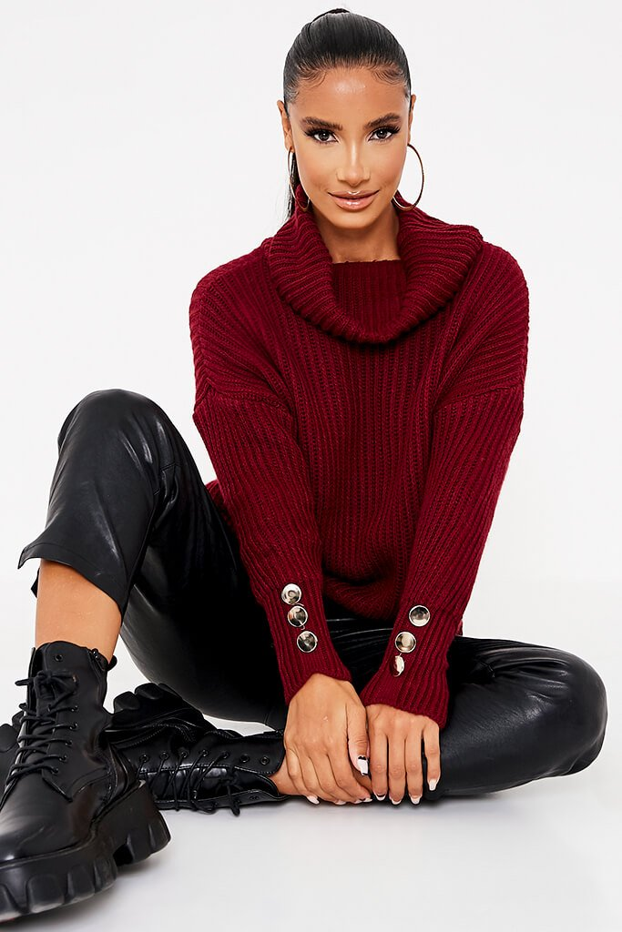 Burgundy Roll Neck Oversized Jumper With Button Cuff