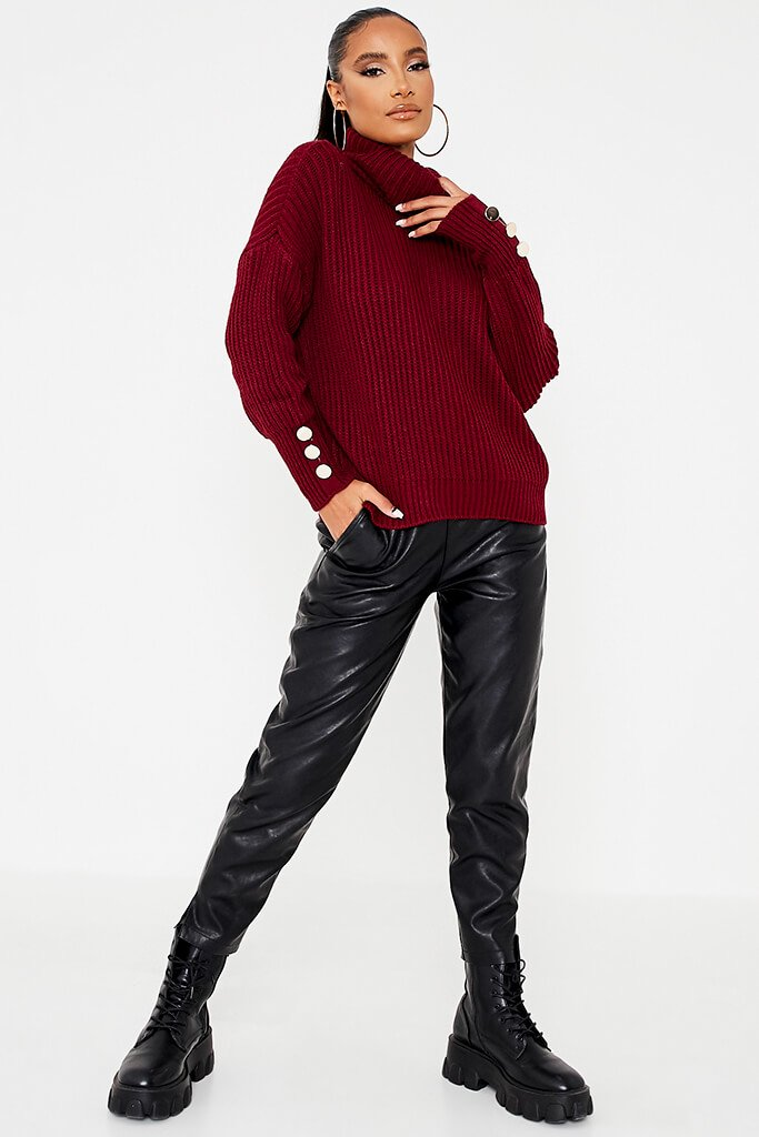 Burgundy Roll Neck Oversized Jumper With Button Cuff view 2
