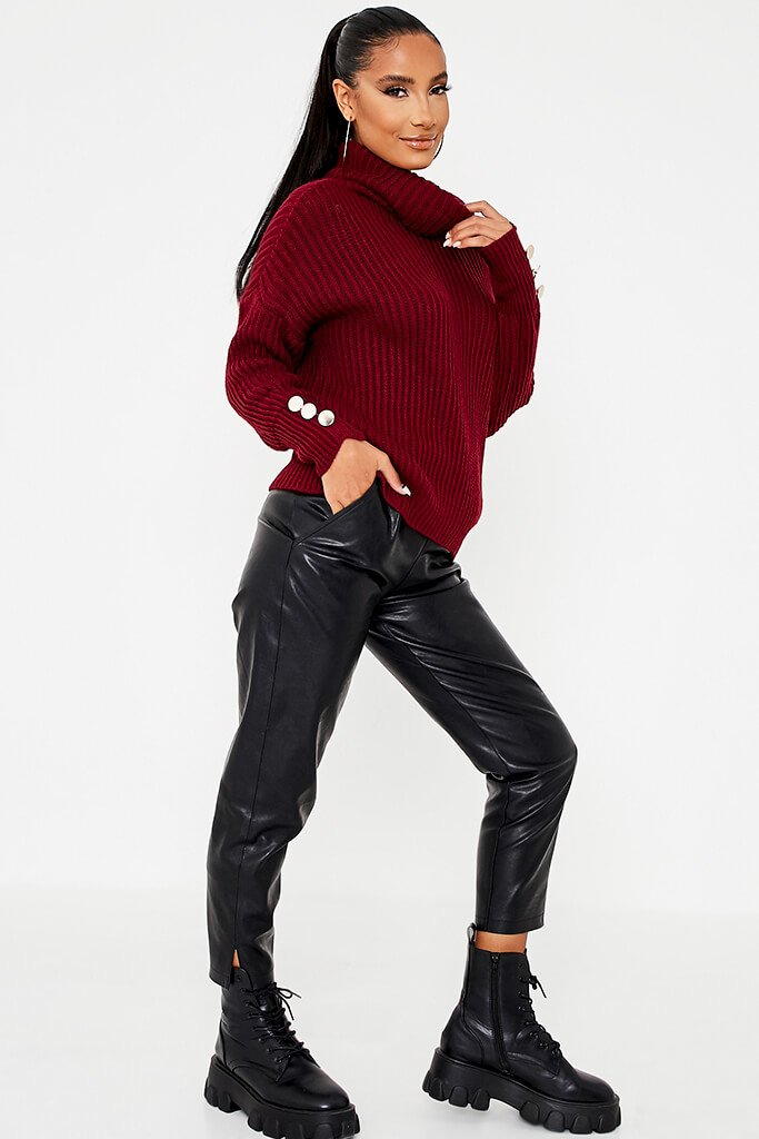 Burgundy Roll Neck Oversized Jumper With Button Cuff view 3