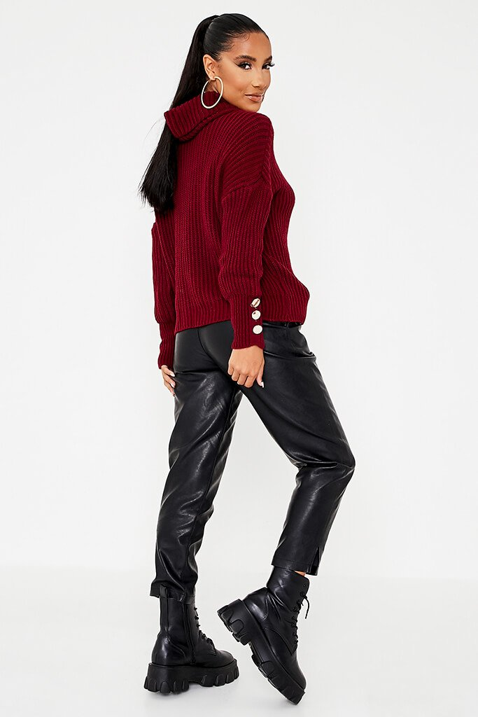 Burgundy Roll Neck Oversized Jumper With Button Cuff view 4