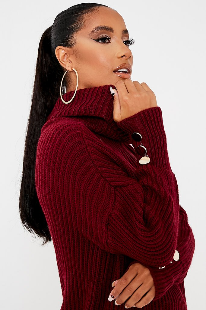 Burgundy Roll Neck Oversized Jumper With Button Cuff view 5