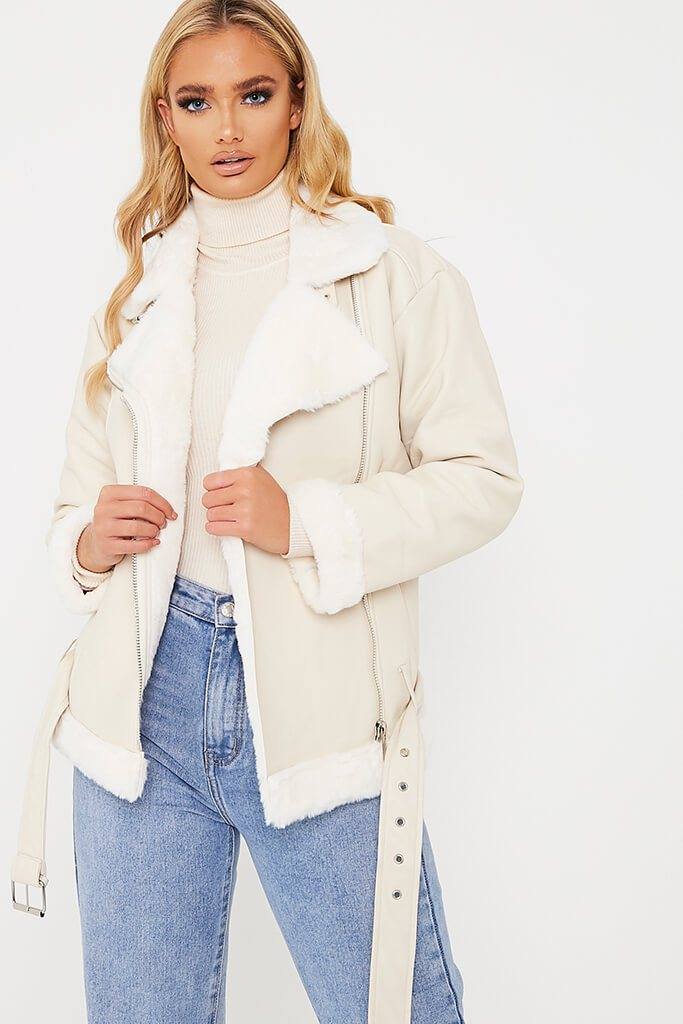 Ivory Belted Faux Fur Aviator Jacket