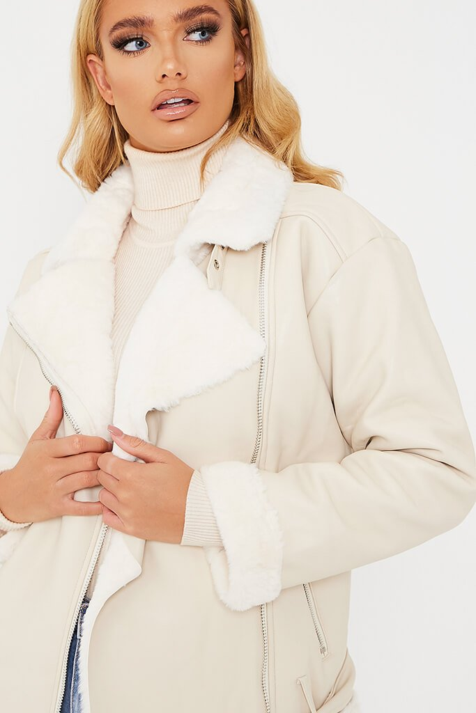 Ivory Belted Faux Fur Aviator Jacket view 5