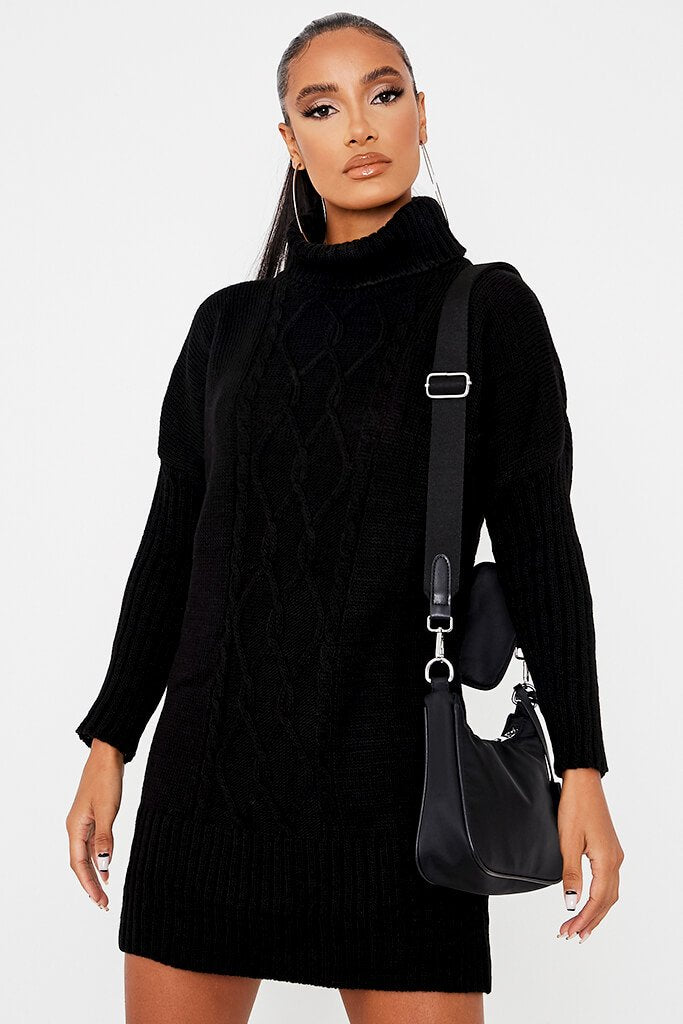 Black Cable Knit Roll Neck Dress