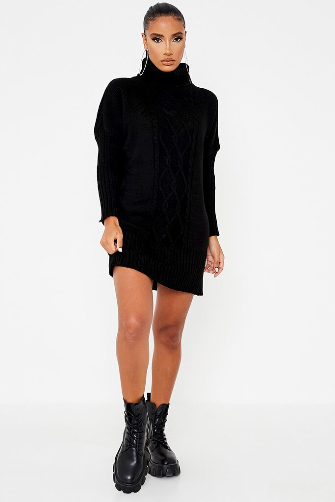 Black Cable Knit Roll Neck Dress view 2