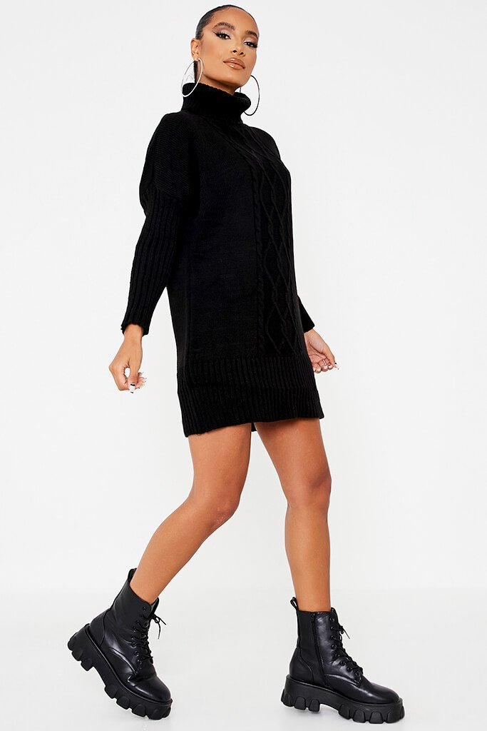 Black Cable Knit Roll Neck Dress view 3