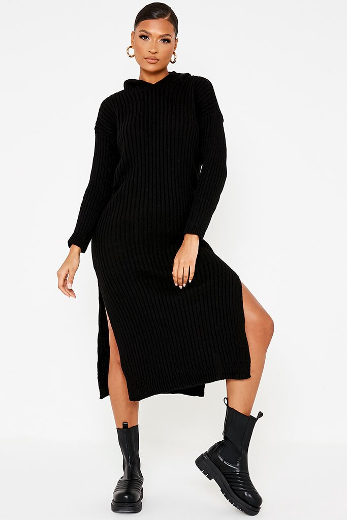 Black Knitted Maxi Dress With Hood And Side Splits