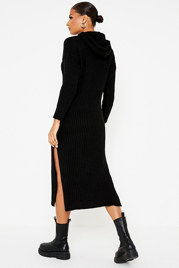 Black Knitted Maxi Dress With Hood And Side Splits view 4
