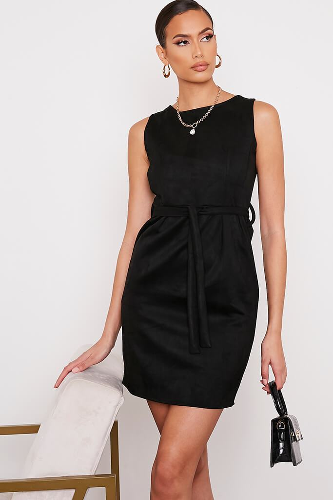 Black Suede Belted Pinafore Dress