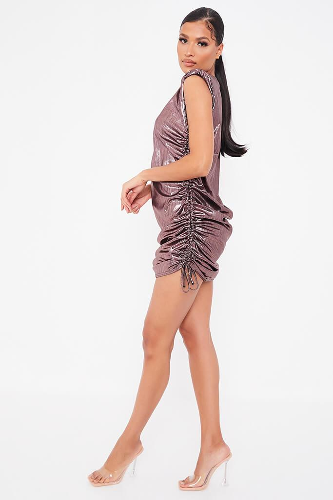 Rose Foil Sleeveless Ruched Side Mini Dress view 3