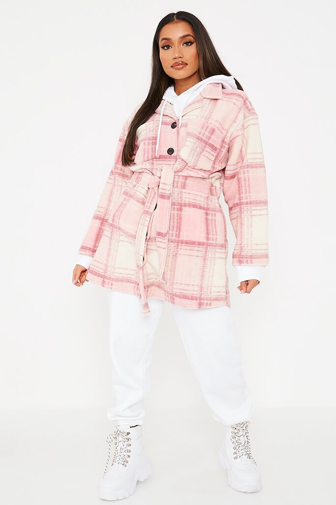 Pink Brushed Check Shacket With Tie Waist view 2