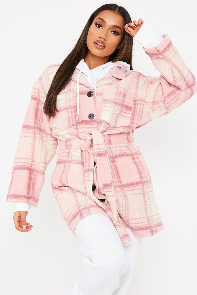 Pink Brushed Check Shacket With Tie Waist