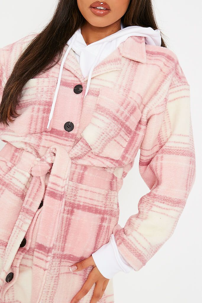 Pink Brushed Check Shacket With Tie Waist view 5