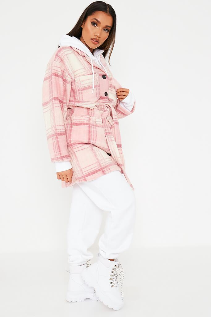 Pink Brushed Check Shacket With Tie Waist view 3