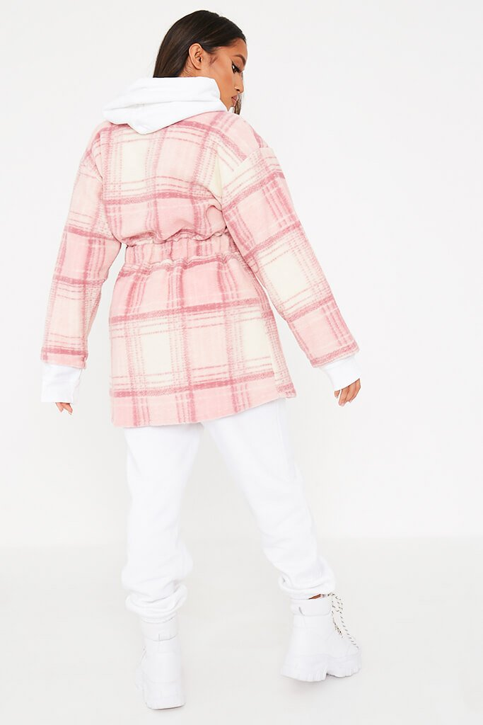 Pink Brushed Check Shacket With Tie Waist view 4