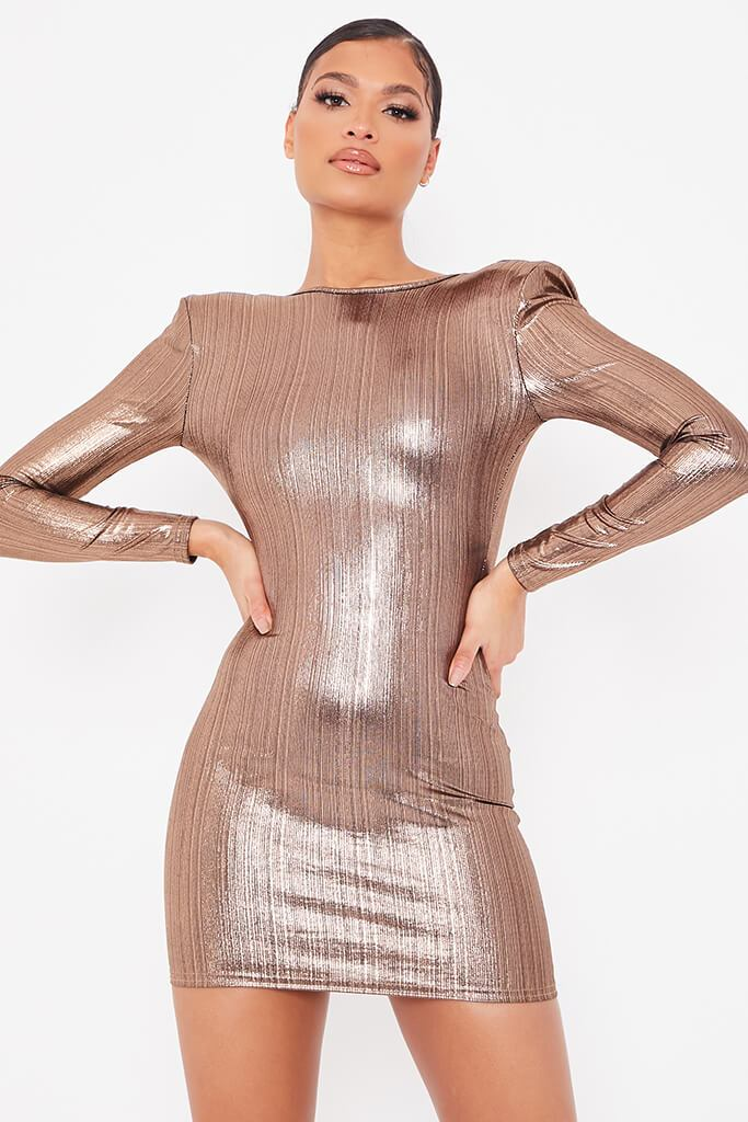 Gold Foil Long Sleeve Shoulder Pad Backless Bodycon Dress