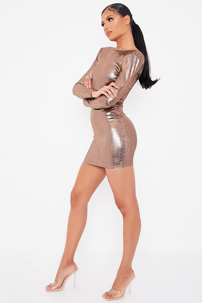 Gold Foil Long Sleeve Shoulder Pad Backless Bodycon Dress view 3