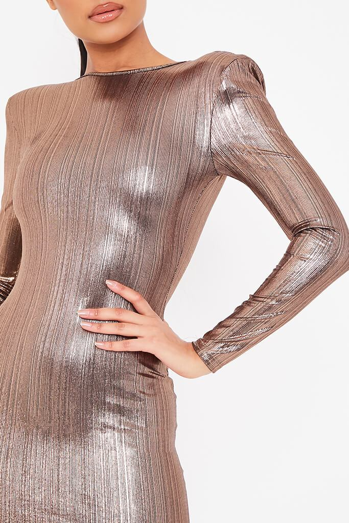 Gold Foil Long Sleeve Shoulder Pad Backless Bodycon Dress view 5