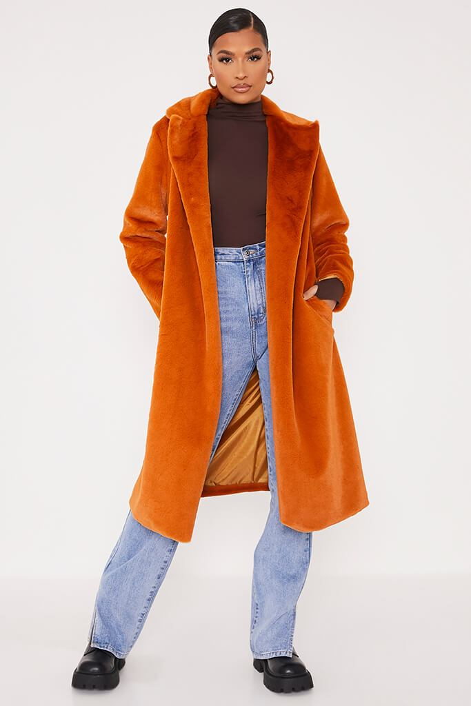 Rust Faux Fur Long Line Coat
