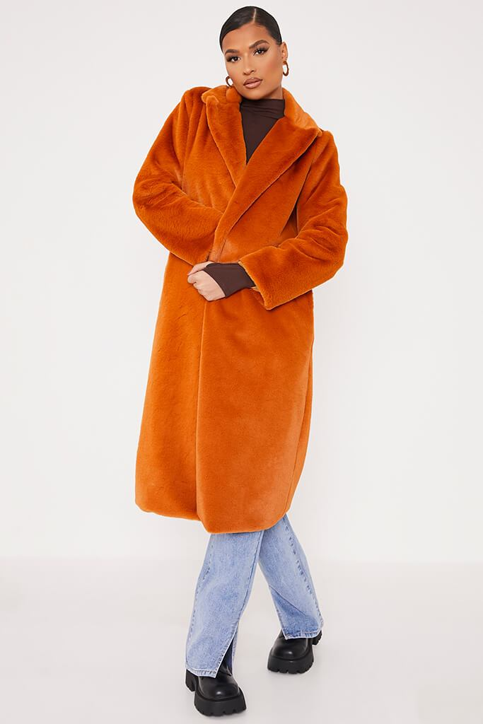 Rust Faux Fur Long Line Coat view 2