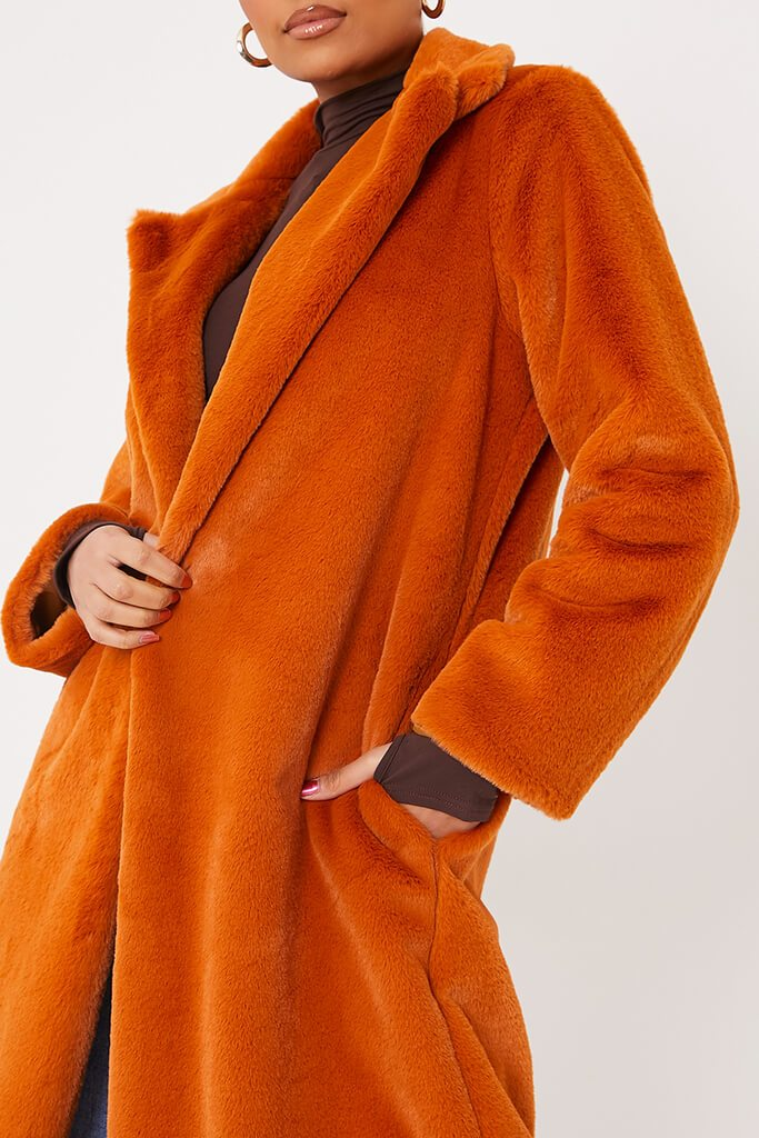 Rust Faux Fur Long Line Coat view 5