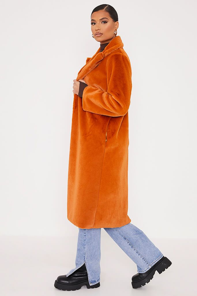 Rust Faux Fur Long Line Coat view 3