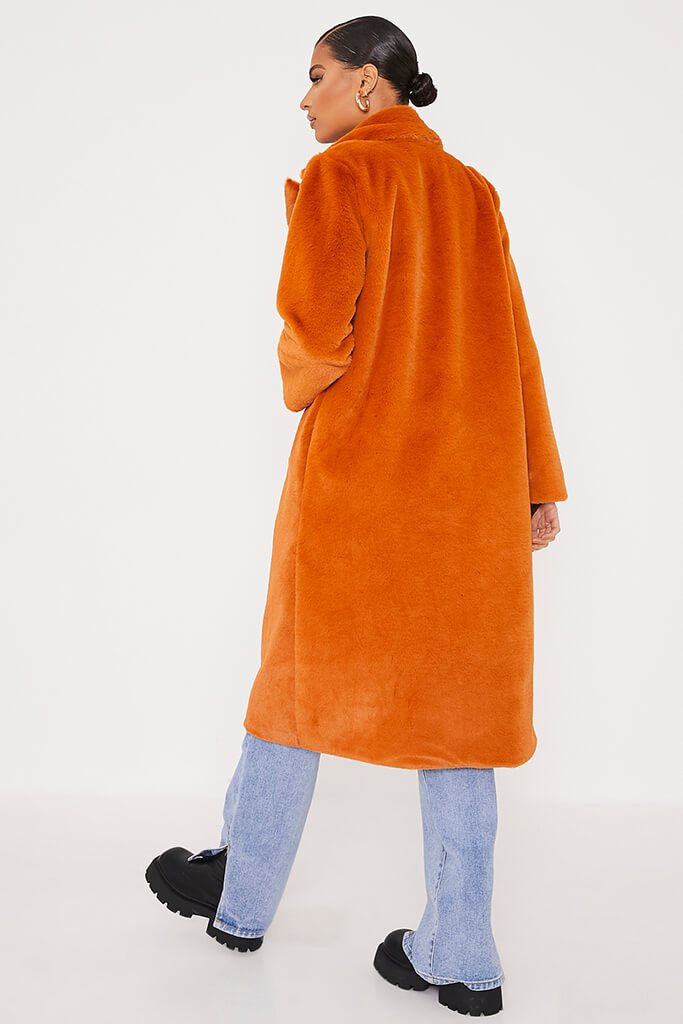 Rust Faux Fur Long Line Coat view 4